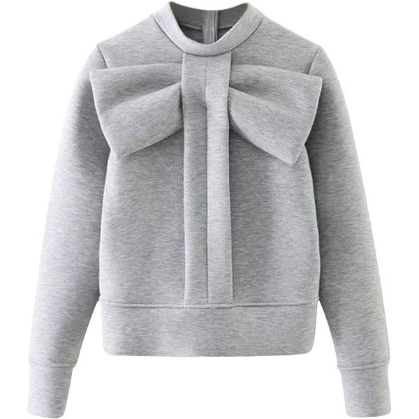 Gray Bow Tie Front Sweatshirt found on Polyvore featuring tops, hoodies, sweatshirts, sweaters, polyester sweatshirt, bow top, grey sweatshirt, bow tie top and grey top