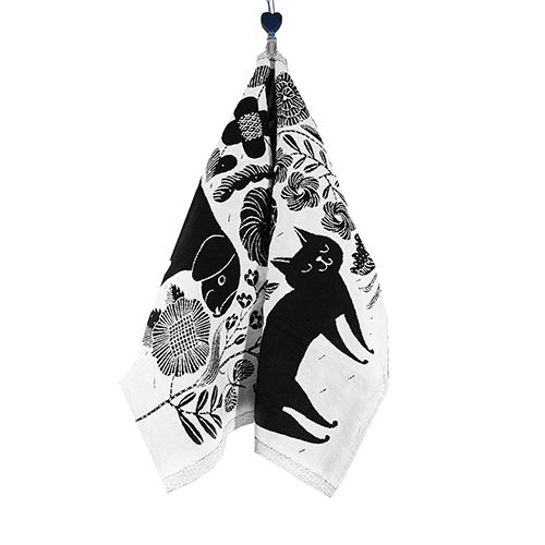 Lapuan Kankurit Koira Ja Kissa Black Tea Towel
