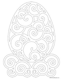 New coloring page in 2 formats- A delicately filigree Easter egg.