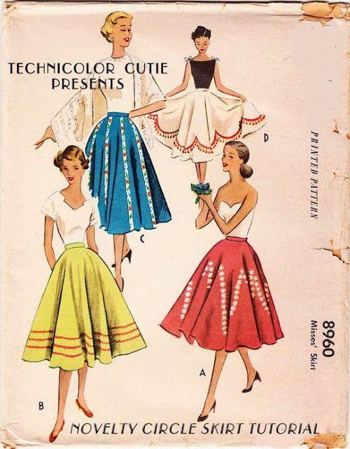 FREE Vintage 1950's Circle Skirt Sewing Pattern and Tutorial