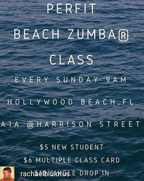 Credit to @ rachaelblulotus : Join @ nancy_frances and me Sunday at 9AM for PerFit Beach Zumba class Hollywood Beach FL A1A @ Harrison Street . Come dance way your to fitness and enjoy a beach day afterwards. See you there!!!  . . . . TAG US @hollywoodtapfl TO GET YOUR HOLLYWOOD EVENTS FEATURED ON OUR PAGE #hollywoodtapfl #hollywoodfl #hollywoodflorida #hollywoodbeach #downtownhollywood #miami #fortlauderdale #ftlauderdale #aventura #dania #daniabeach #hallandale #hallandalebeach #davie…