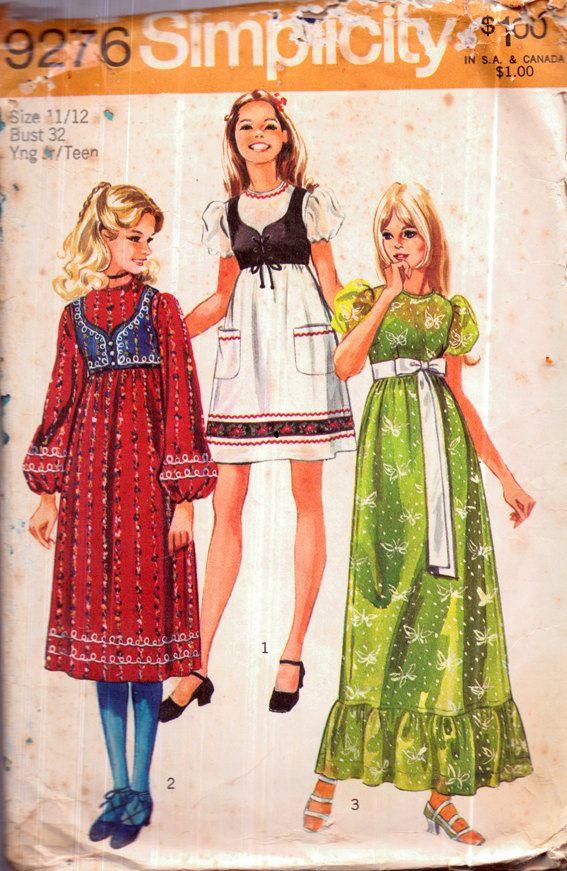 Genuine Vintage 1970s Simplicity 9276 Set of Folk Maxi Dresses