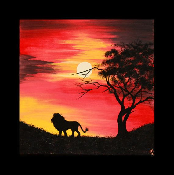 Original Acrylic Abstract Painting Canvas Lion Silhouette African Tree Sunset Red Yellow Black 12 x 12 Inch Small Space Simba