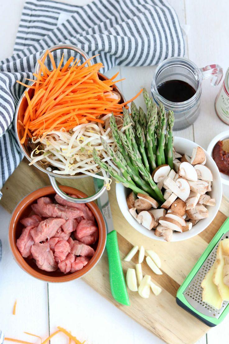 Slank roerbak recept met biefstuk en vier soorten groente