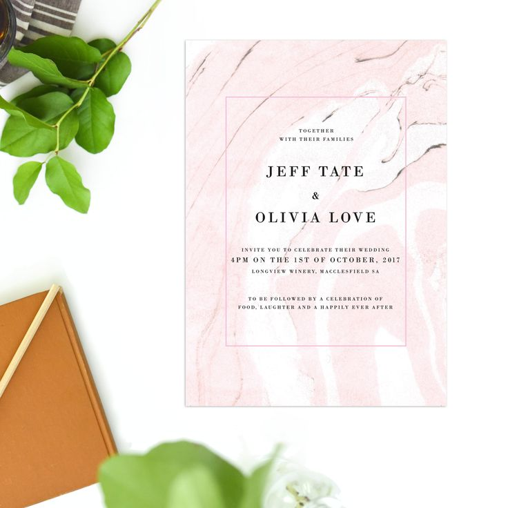 These Musk Pink Marble Wedding Invitations feature a modern design with pink, white and grey marble swirls. A beautiful pink gemstone look!
