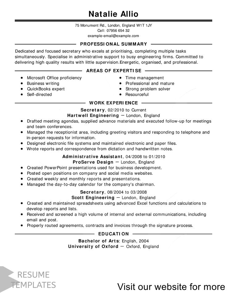 Professional Resume Example Instant Download, 1 Page