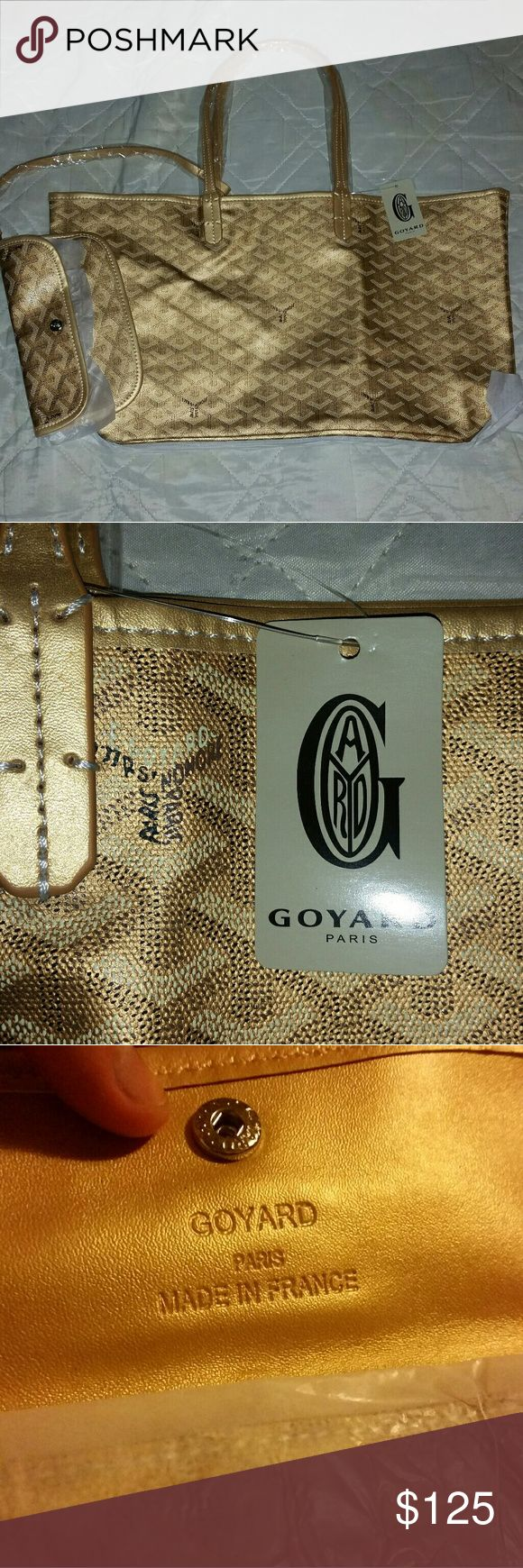 Tote bag and wallet Price says it all. The bag's leather is amazing and comes with tag and dustbag. Measurements : 18 x 18 inches (bag length 10 inches plus straps 8 inches makes length 18 in total)  ~plus, the gold is super flashy. Goyard Bags Totes