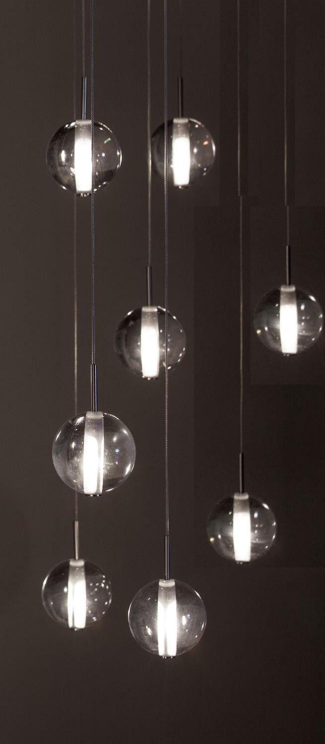 Globe pendants Lighting Alternative to Bocci lighting using 14 crystal Globes