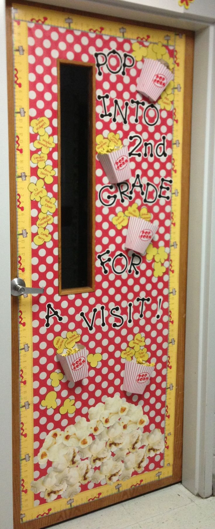 Back to school door decor made with Dollar Store popcorn boxes. Would be cute during May and summer when new members join colorguard