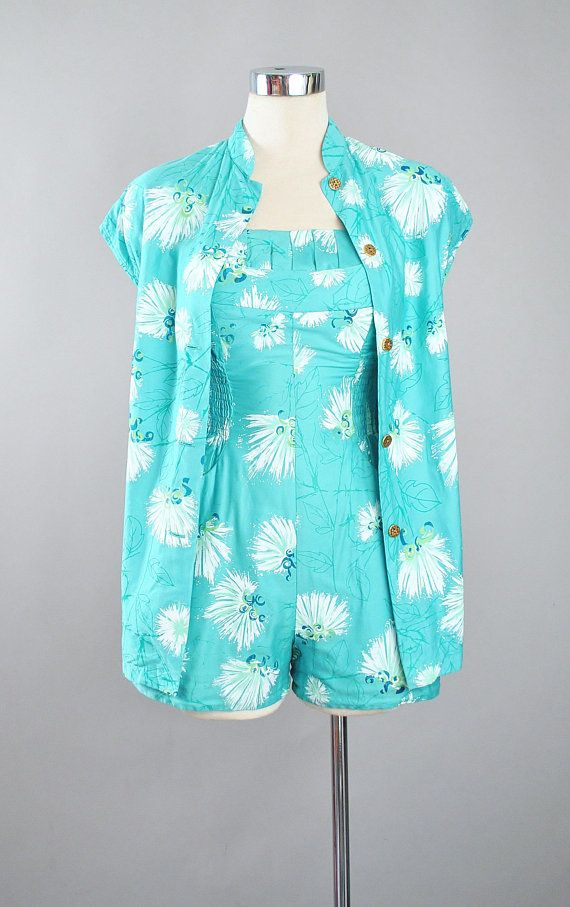 db60fbb43b RESERVED 50s ALFRED SHAHEEN Playsuit 2pc Cover Up Set   1950s Hawaiian Mint  Green Romper Pinup Swimsuit Beach Sun Suit Jumper Xs Small
