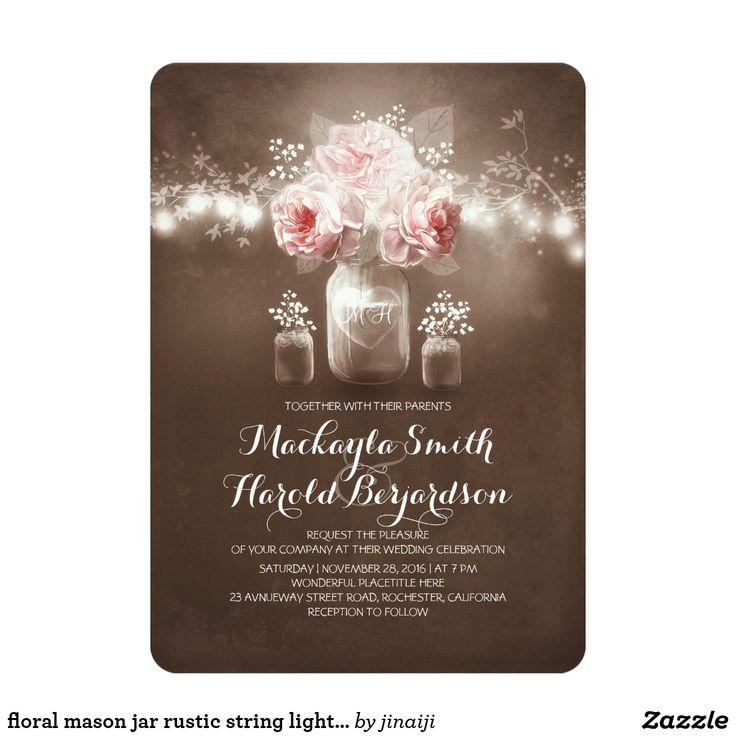 pink black and white bridal shower invitations%0A Shop rustic mason jar barn lights bridal shower card created by jinaiji