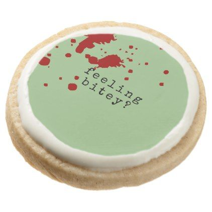 FEELING BITEY Funny Zombie Green Round Shortbread Cookie - Halloween happyhalloween festival party holiday