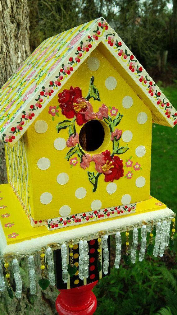 Whimsical HandPainted Floral Birdhouse by FrooFrooBird on Etsy, $199.50