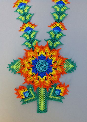 Huichol beaded necklace: The Sunflower ~ Festival of the Drum by Tribal Art - Harmonia de Luz (Harmony of Light)