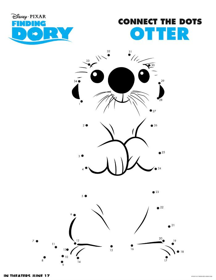 Disney Finding Dory Otter Connect The Dots Coloring Page
