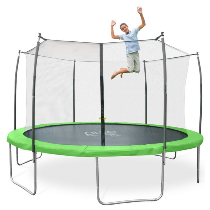 Pure Fun Dura-Bounce 12 FT Round Trampoline with Enclosure Net