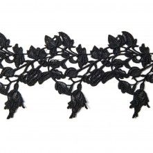 "3.5""+Metallic+Black+Floral+Lace+Trim"