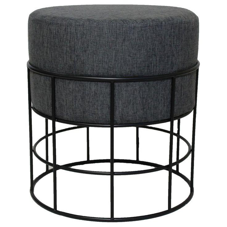 Enterprises Modern Designs Round Metal Fabric Ottoman Stool (Dark Grey)
