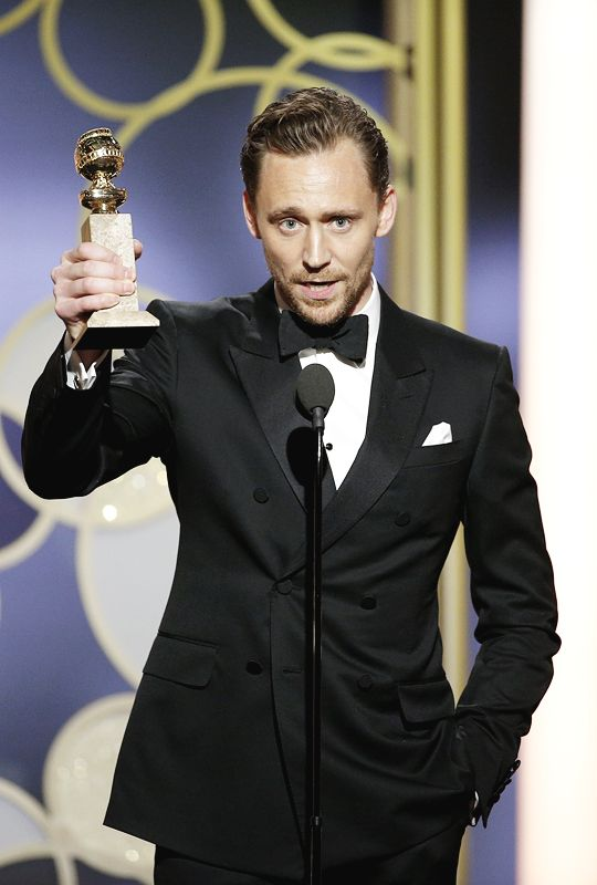 Tom Hiddleston accepts the award for Best Performance by an Actor in a Limited Series or a Motion Picture made for Television for 'The Night Manager' during the 74th Annual Golden Globe Awards at The Beverly Hilton Hotel on January 8, 2017 in Beverly Hills, California.