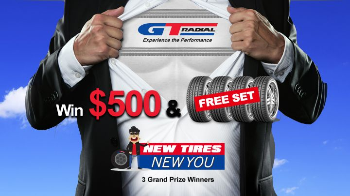 Check out GT Radial's 'New Tires, New You' sweepstakes and enter a super quick online form for a chance to be one of 3 winners. Each winner gets a grand prize of a new set of GT Radial tires and fitting, as well as USD $500 -- a $1,200 total value!