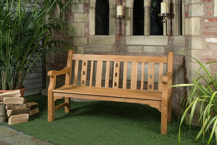 6ft Solid Teak Salisbury Garden Bench - FSC Teak Hardwood Bench with Free Plaque Link: http://www.hayesgardenworld.co.uk/product/6ft-solid-teak-salisbury-garden-bench-fsc-teak-hardwood-bench-free-plaque