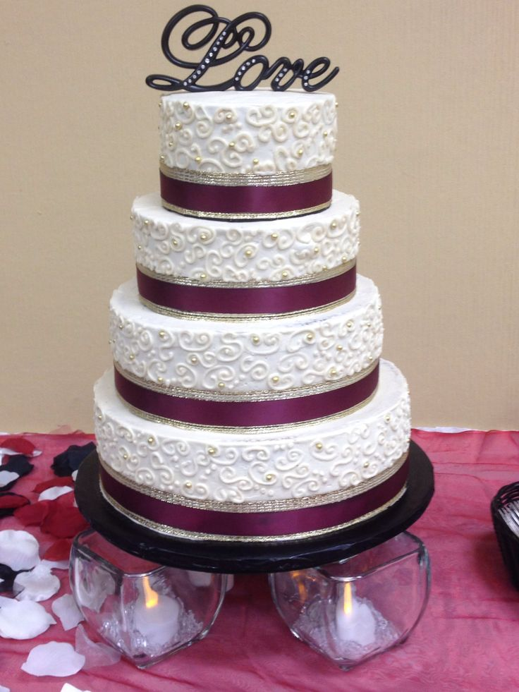 Four Tier Wedding Cake Burgundy Gold And Ivory 2 Tiers Vanilla With Strawberry Filling