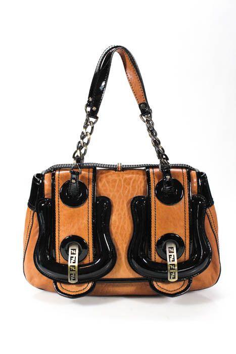 e40e976bbf Fendi Brown Leather B Buckle Black Patent Trim Medium Satchel Handbag