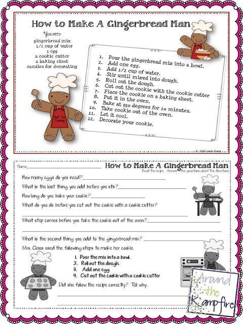 Free gingerbread man following directions printable! 5 Days of Freebies from AroundtheKampfire.com: