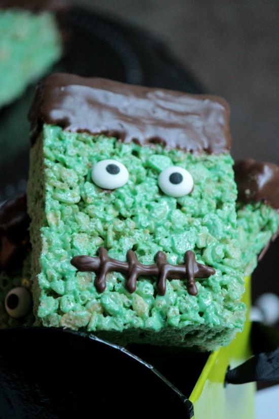 Frankenstein is ready for this close up! Frankenstein Rice Krispie Treats will be sure to bring the party to life! Who's ready to party?