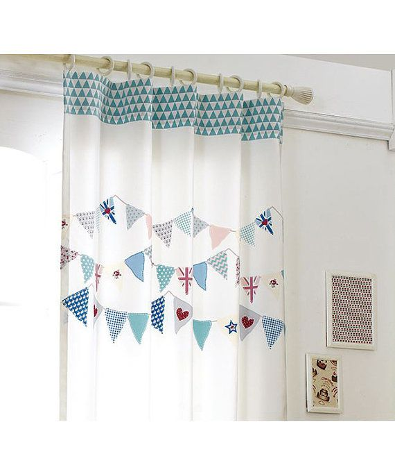 [ D E S C R I P T I O N ] 2 Panels Blue Garland Kids Blackout Curtains, 50%  blocks Light, - Best 25+ Nursery Blackout Curtains Ideas On Pinterest Blackout