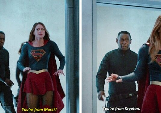 """You're from Mars?!"" - Kara, knowing the truth about Hank/J'onn #Supergirl"