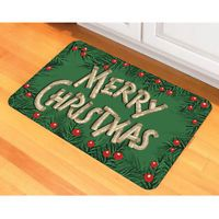 Birch Holly Christmas Skid-Resistant Grime-Resistant Floor Mat With Polyester Face and ...