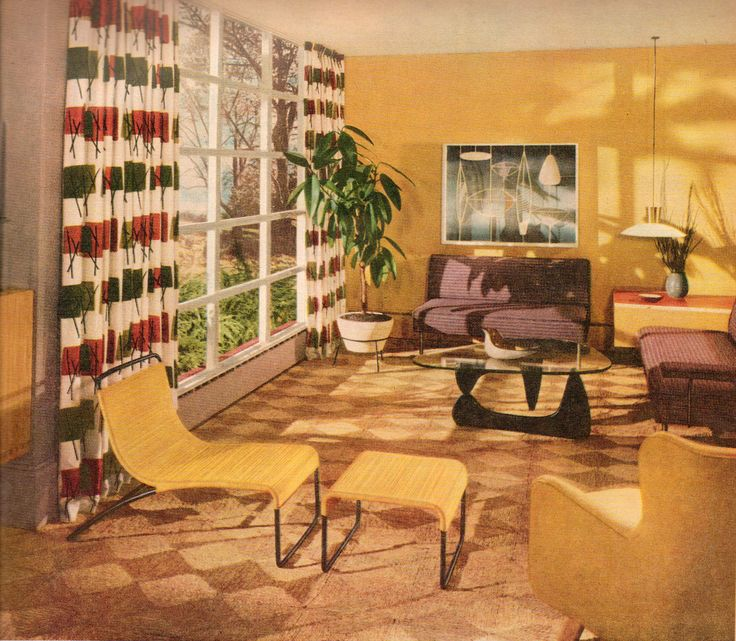 How To Copy The Mid Century Modern Design: Yellow Mid Century Modern Living Room