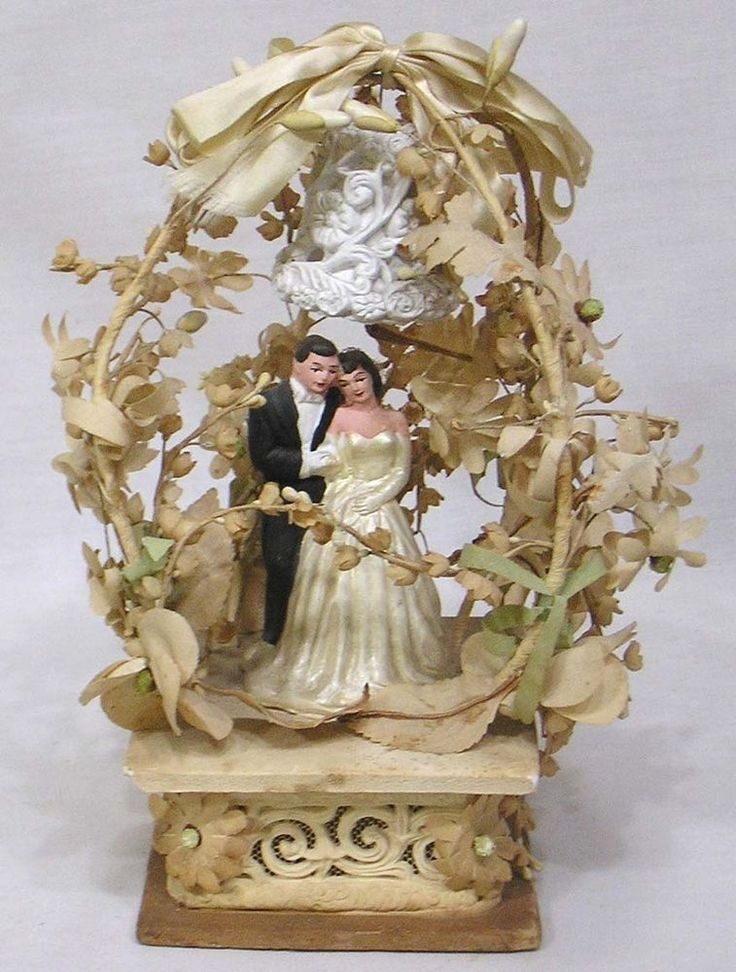 Vintage Wedding Cake Topper 1930s Very Elaborate Foliage Bell Flowers Ceramic  | eBay