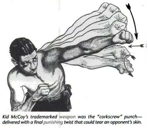 "Old school boxing technique: The 'Corkscrew' Punch. This is explained in Jack Dempsey's ""Championship Fighting"""
