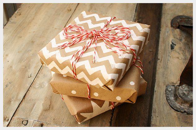 Holiday Gift Wrap DIY : DIY Fashion by Trinkets in Bloom-- stencilled