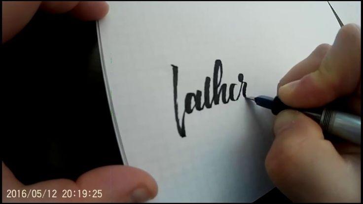 Процесс написания слова Father's pilot parallel pen в разных стилях