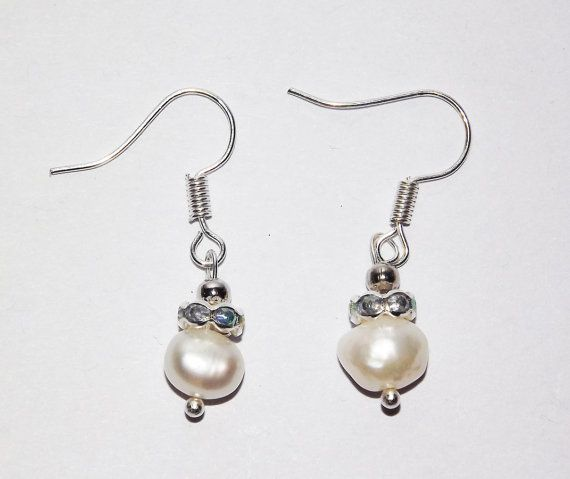 Sparkling Collar Pearl Earrings   Free UK P&P   by KasumiCrafts