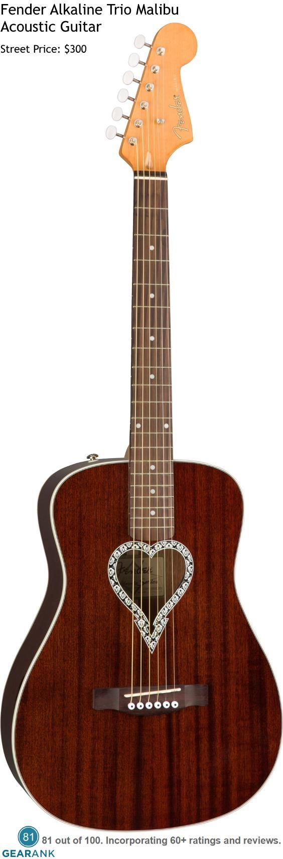 Fender Alkaline Trio Malibu. Chicago punks Alkaline Trio jumped in on the design of what must be one of Fender's most distinctive acoustic guitars ever, Street Price: $300. For a detailed guide to acoustic guitars see https://www.gearank.com/guides/acoustic-guitars