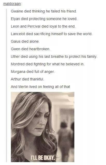 I can't imagine Gaius died alone since he lived in Camelot surrounded by people who loved him, but either way, this is really sad. :'( --Description by Frodo the Second