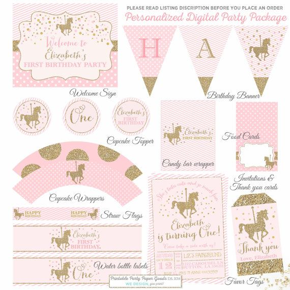 Carousel Birthday Invitation And Matching by PixelPerfectionParty