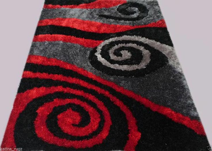Shag Shaggy Modern Black Red Grey 8x11 Area Rug Actual Size 7u00276 X10´