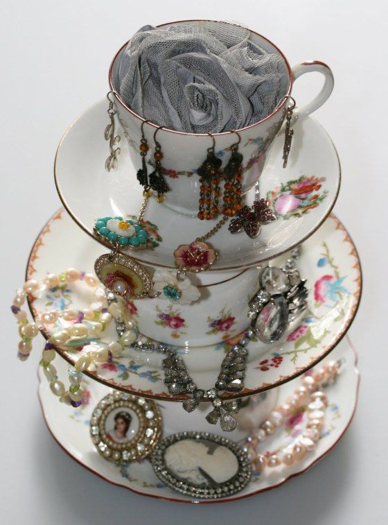 Mismatched cups and saucers, glued together, become a place to hold and display jewelry.  How creative! - artificial jewellery earrings, to buy jewellery online, online jewellery *ad