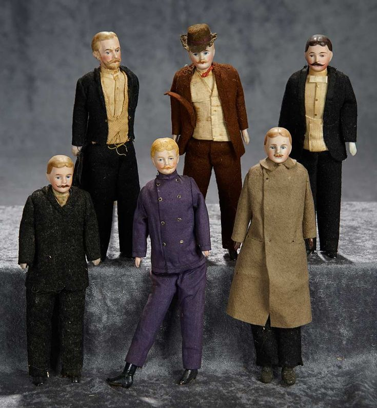 "GRANDEZVOUS Auction on Dec 9-10. http://theriaults.proxibid.com | 7"" Six German bisque dollhouse gentlemen, original costumes, moustaches, beard. $800/1200"