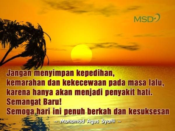 Jangan menyimpan kepedihan, kemarahan dan kekecewaan pada masa lalu, karena hanya akan menjadi penyakit hati. Semangat Baru! Semoga hari ini penuh berkah dan kesuksesan