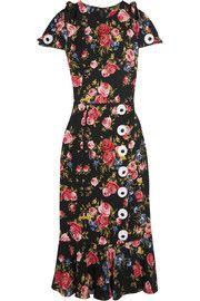 Floral-print charmeuse μετάξι-μίγμα φόρεμα