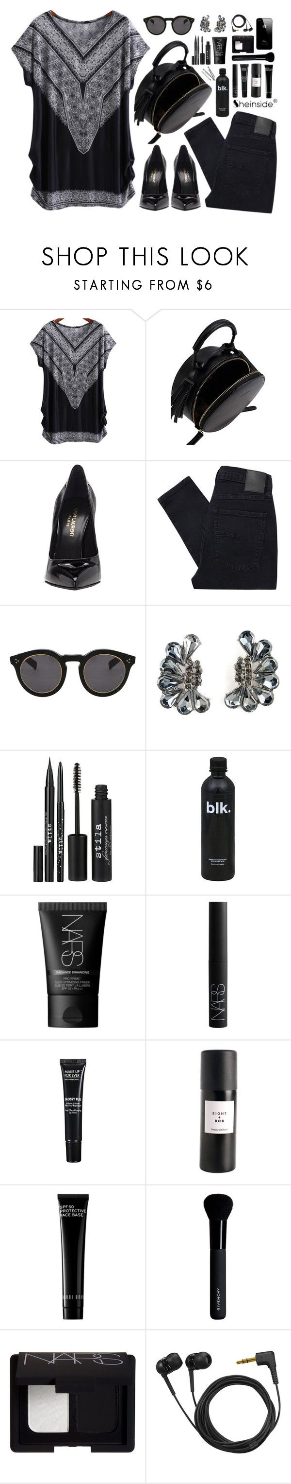 """""""SheIn 1"""" by scarlett-morwenna ❤ liked on Polyvore featuring Yves Saint Laurent, Nobody Denim, Illesteva, Stila, BOBBY, NARS Cosmetics, MAKE UP FOR EVER, Eight & Bob, Bobbi Brown Cosmetics and Givenchy"""