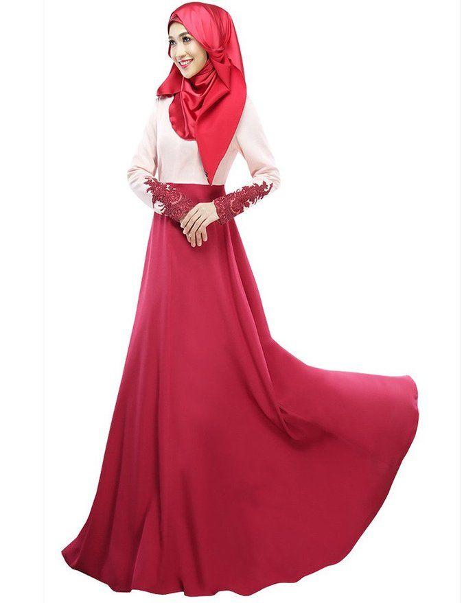 Ashir Aley Womans Sleeve Emboridered Long Muslim Abaya Kaftan Dress (M,Red) #fashion #muslim