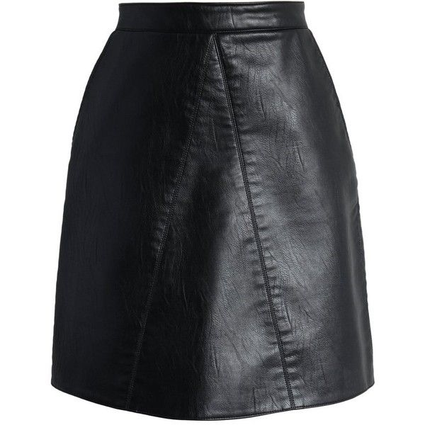 Chicwish Fetching Faux Leather Skirt in Black (125 BRL) ❤ liked on Polyvore featuring skirts, black, vegan leather skirt, leather look skirt, fake leather skirt, faux leather skirts and chicwish skirt