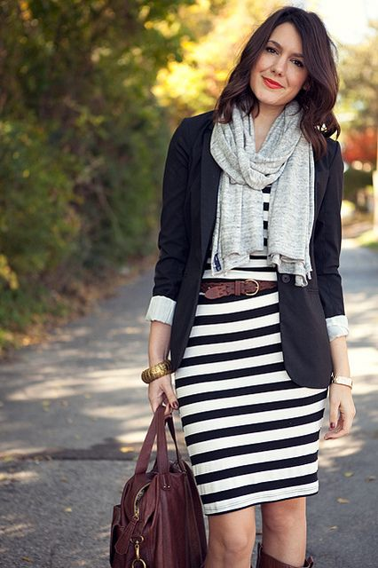 Black/white striped dress, black blazer, brown belt, brown boots